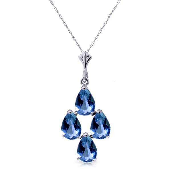 14K White Gold 1.50ct Pear Blue Topaz Necklace