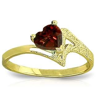 14k Gold 0.90ct Garnet Heart Ring