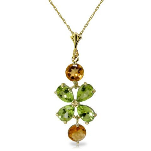 14k YG 1.00ct Citrine & 2.15ct PEAR Peridot Necklace