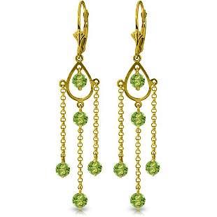 14k Yellow Gold 3.0ct Peridot Long Drop Earrings