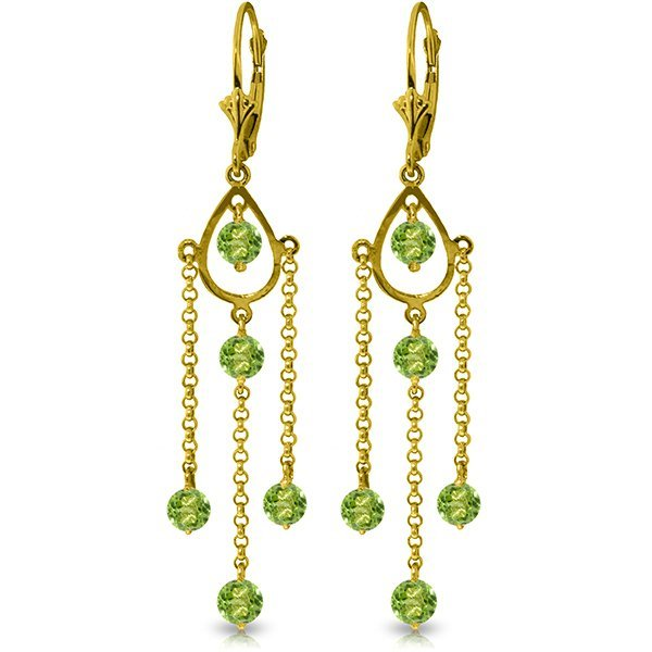 14k Yellow Gold 3.0ct Peridot Long Drop Earrings