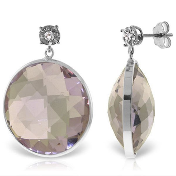 14K White Gold 36.0ct Amethyst & Diamond Stud Earring