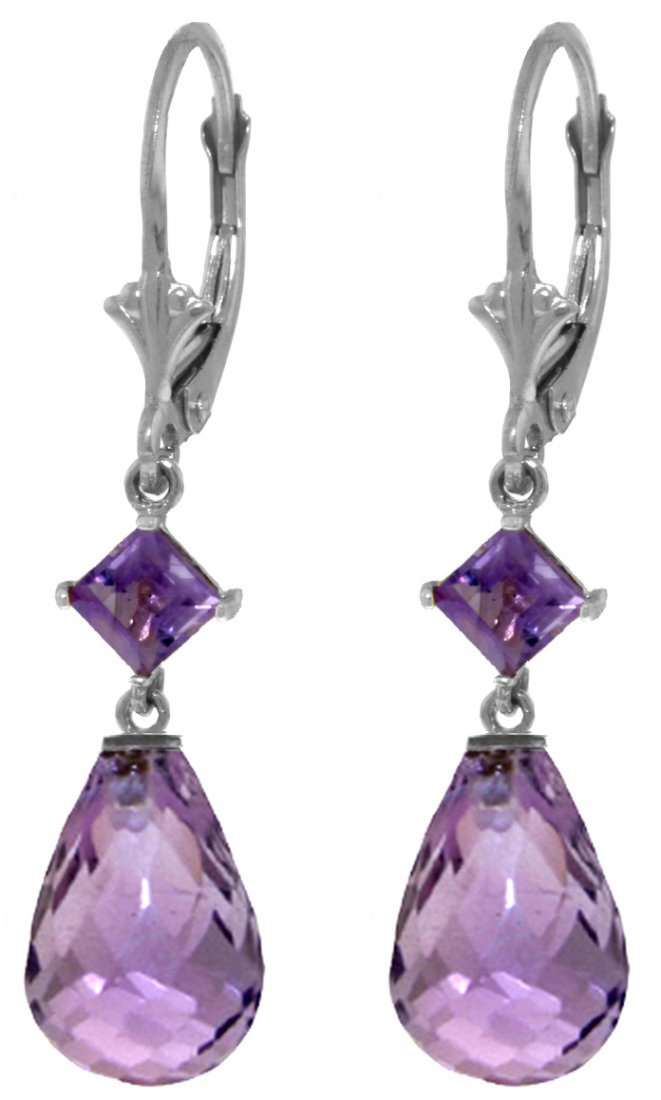 14k White Gold Amethyst Dangle Earrings