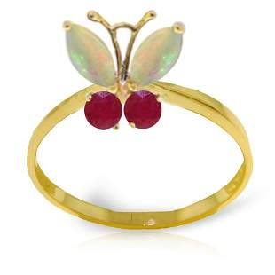 14k YG .50ct Opal and .20ct Ruby Butterfly Ring