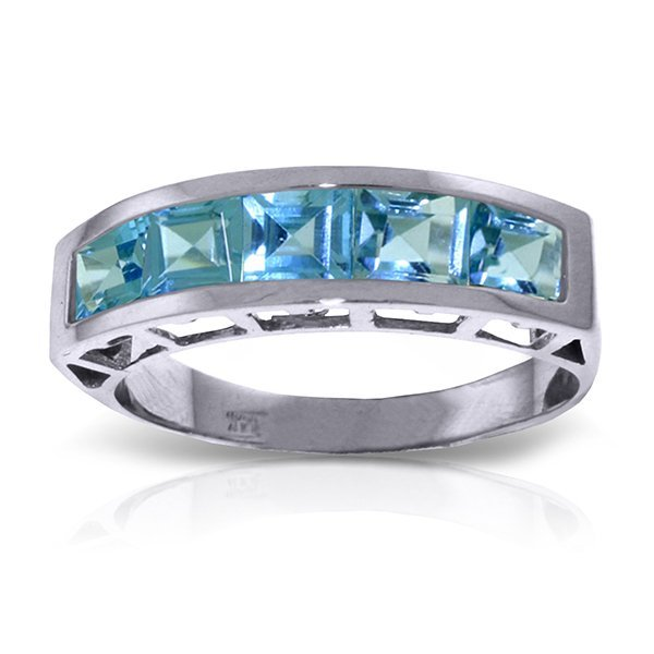 14K White Gold 2.25ct Square Blue Topaz Ring