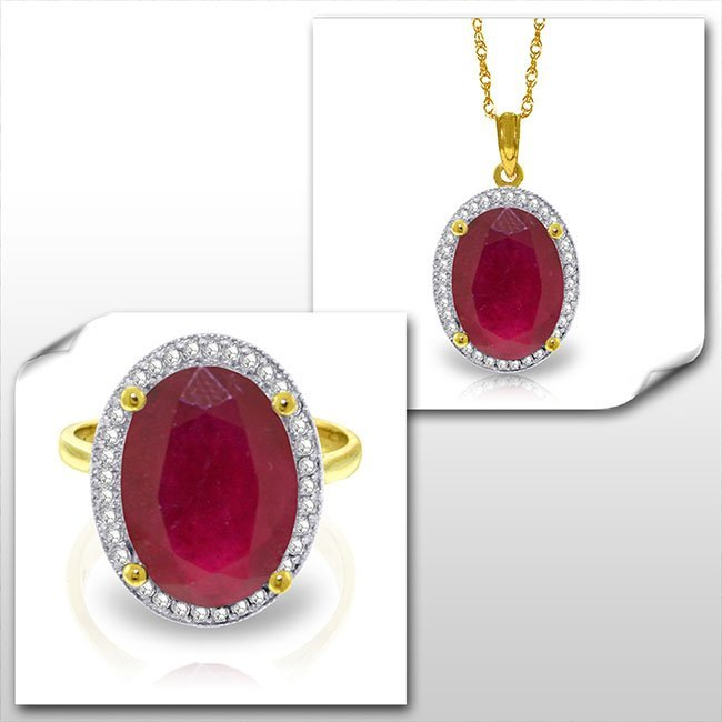 14K Solid Gold Set of Diamond & Ruby Fine Jewelry (2)