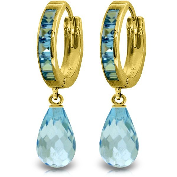 14K Solid Gold 4.50ct & .85ct Blue Topaz Hoop Earring