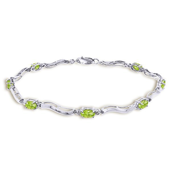 14K .01ct DIAMONDS & 2.0ct PERIDOTS TENNIS BRACELET
