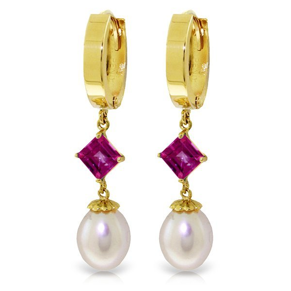 14k Solid Gold 1.50ct Pink Topaz & Pearl Earrings