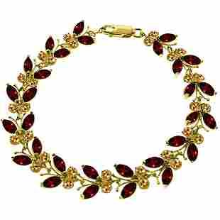 14k Solid Gold Garnet & Citrine Butterfly Bracelet