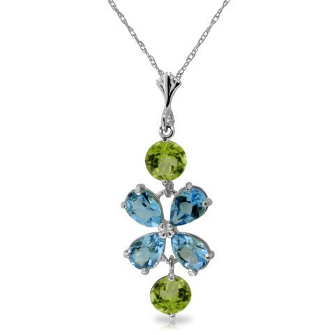 14k WG 2.15ct Blue Topaz &1.0ct Peridot Flower Necklace