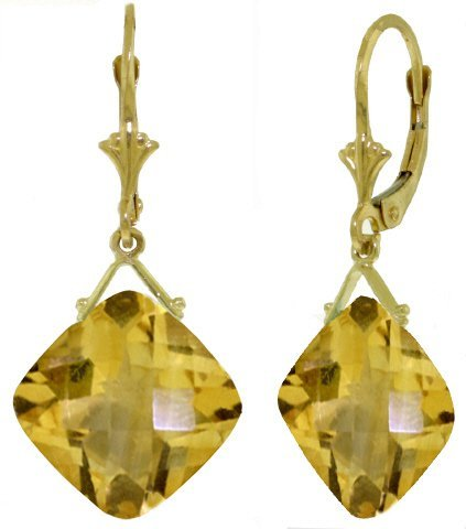 14k Gold 17.50ct Cushion Citrine Earrings