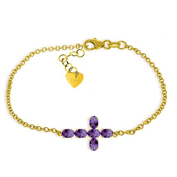 1.7ct 14k Solid  Gold Cross Bracelet Natural Amethyst
