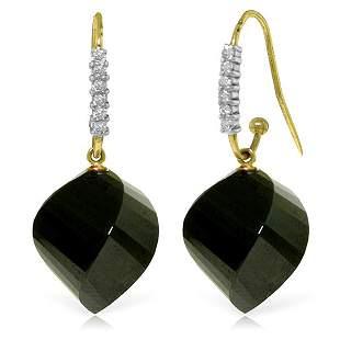 14k YG 31.0ct Black Spinel & Diamond Earrings