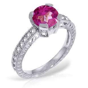 14k WG Pink Topaz & Diamond Engagement Ring