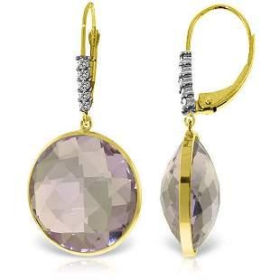 14K Solid Gold 36.0ct Amethyst & .15ct Diamond Earring