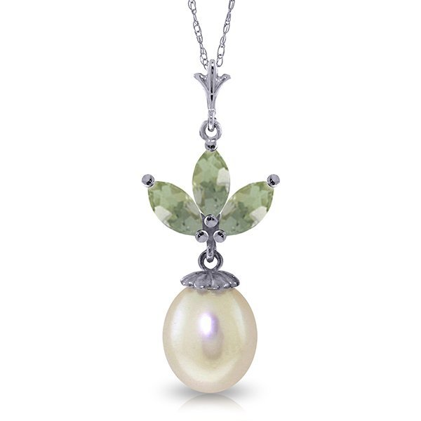 14k WG 0.75ct Green Amethyst & Pearl Necklace