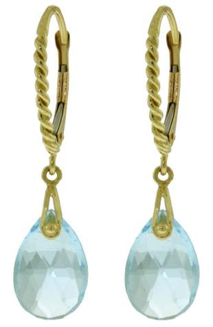 14k Gold Leverback Earrings with 6.0ct Blue Topaz
