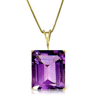 14k Yellow Gold 6.50ct Octagon Amethyst Necklace