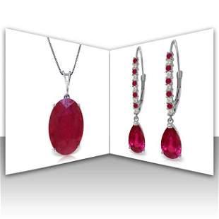 14K White Gold Set of Diamond & Ruby Fine Jewelry (2)