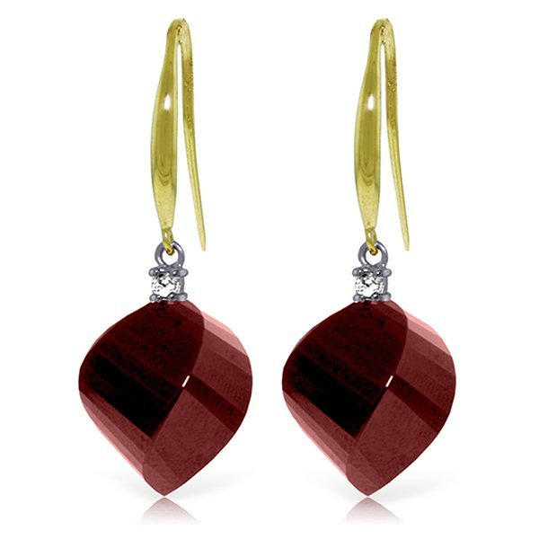 14K Solid Gold 30.5ct Ruby & Diamond Fish HookEarring