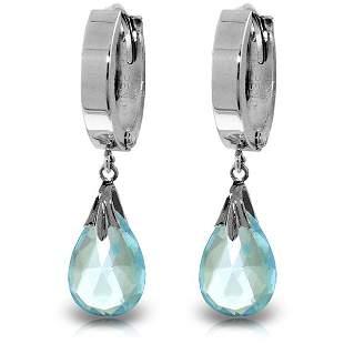14k Solid Gold 6.0ct Blue Topaz Dangle Earrings