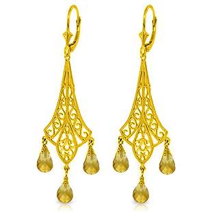 14k YG 4.20ct Citrine Chandelier Earrings