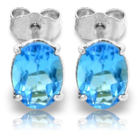 14k WHITE GOLD 1.80ct Oval Blue Topaz Stud Earrings