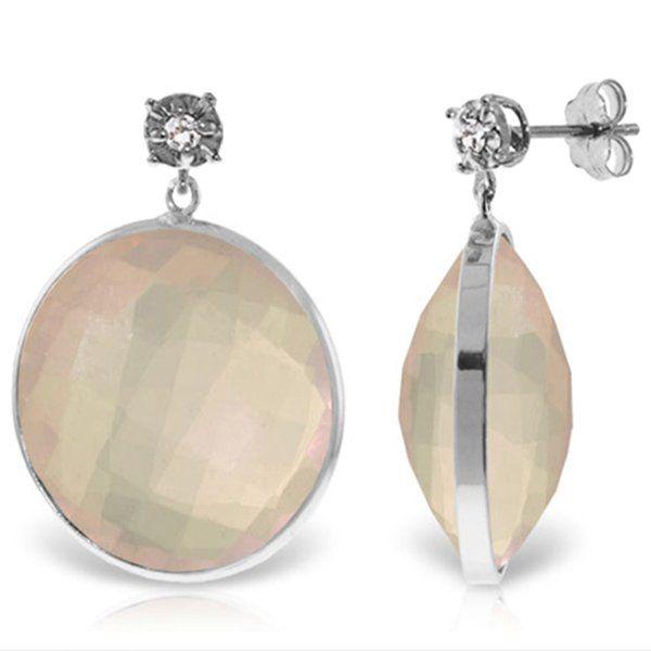 14K White Gold 34.0ct Rose Quartz&Diamond Stud Earring