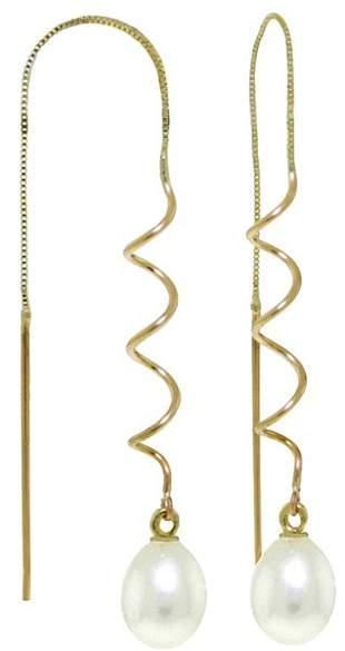14k Freshwater Pearl Twist Threaded Earrings