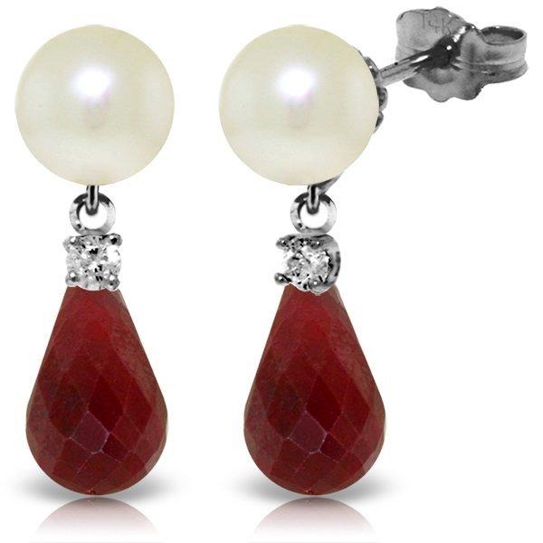 14k WG Pearl, Diamond & 6.60ct Ruby Earrings