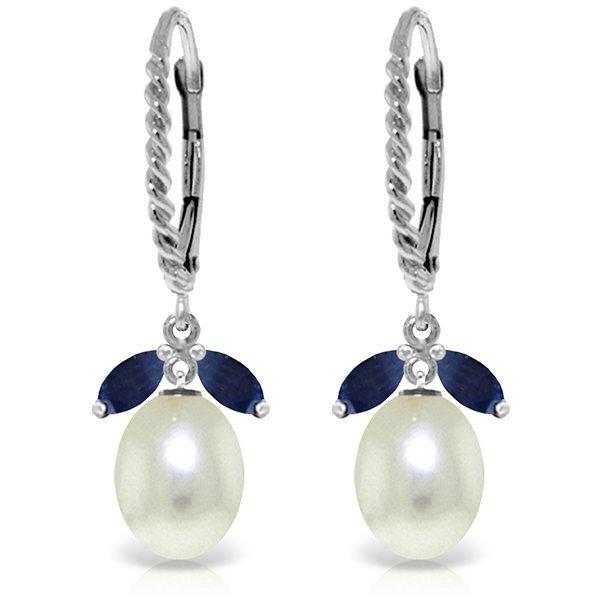 14k WG 1.0ct Sapphire & Pearl Leverback Earrings