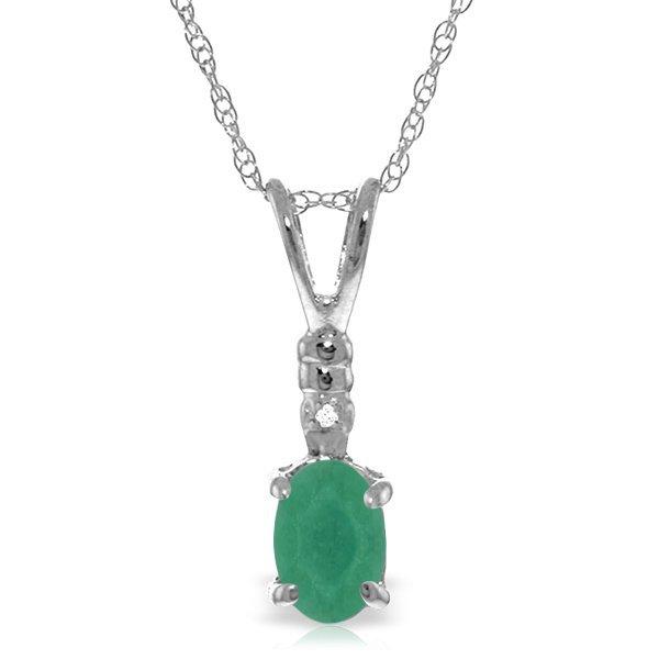 14K White Gold .50ct Emerald & Diamond Necklace