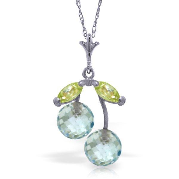 14k WG Blue Topaz & Peridot Petite Necklace