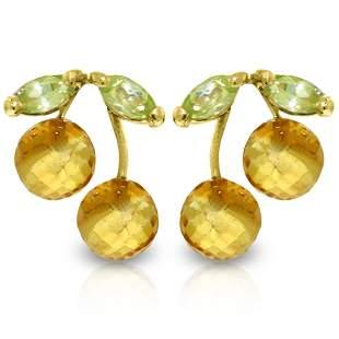 14k YG Peridot & Citrine Petite Earrings