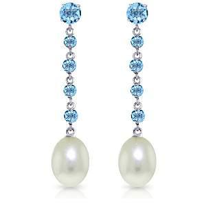 14k Solid Gold Blue Topaz & Pearl Earrings