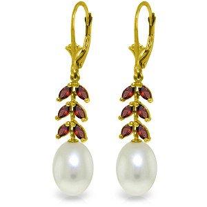 14k Yellow Gold Garnet & Pearl Fancy Earrings