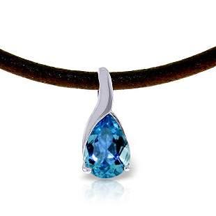 14K White Gold 4.7ct Blue Topaz & Diamond Necklace