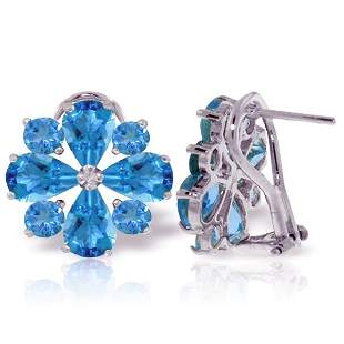 14k WG 3.25ct & 1.60ct Blue Topaz French Clip Earrings