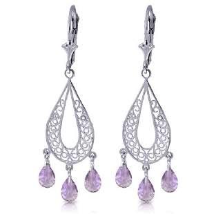 3.75ct Amethyst Teardrop Chandelier Earrings in 14k WG