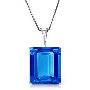 14k Gold 7.0ct Octagon Shape Blue Topaz Necklace
