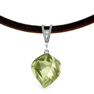 14K White Gold 13.0ct Gr.Amethyst & Diamond Necklace