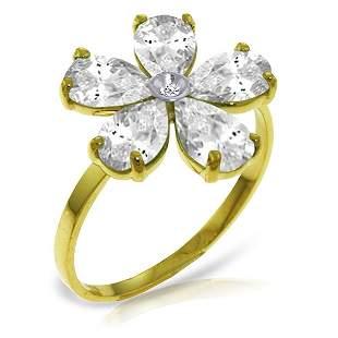 14k Solid Gold White Topaz & Diamond Ring
