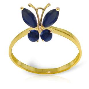 14k Yellow Gold Sapphire Butterfly Ring
