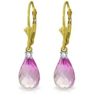 14k Yellow Gold 4.50ct Pink Topaz & Diamond Earrings