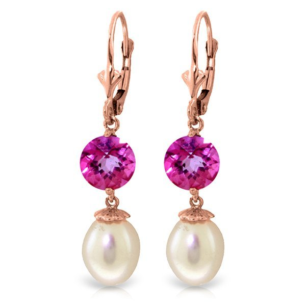 14K Rose Gold 8.0ct Pearl & 3.10ct Pink Topaz Earring
