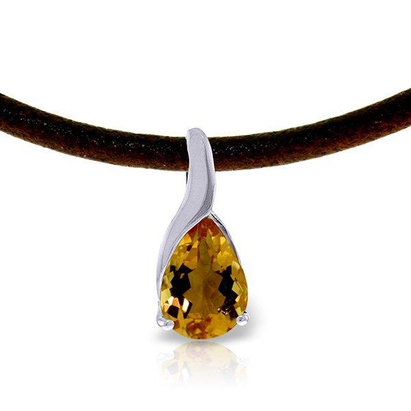 14K White Gold 4.7ct Citrine & Diamond Necklace