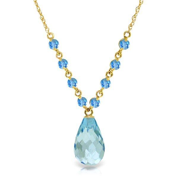 14k Solid Gold Blue Topaz Stationed Necklace