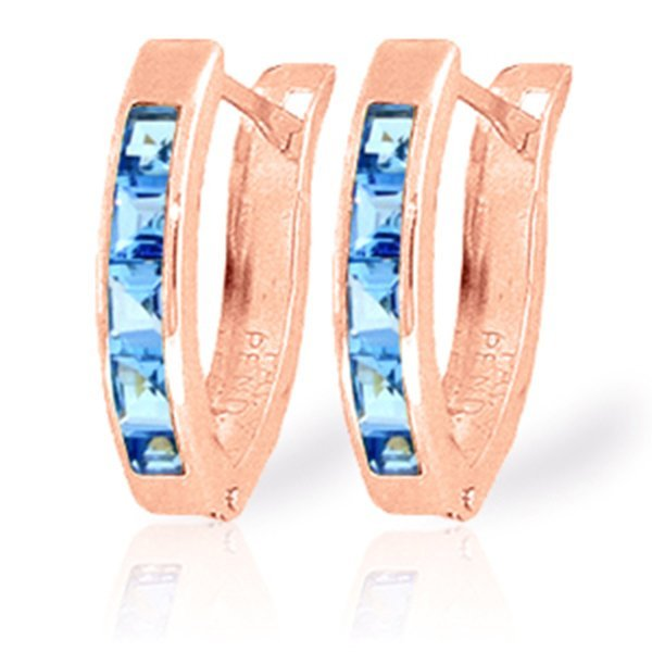 14K Rose Gold 1.20ct Blue Topaz Huggie Earring
