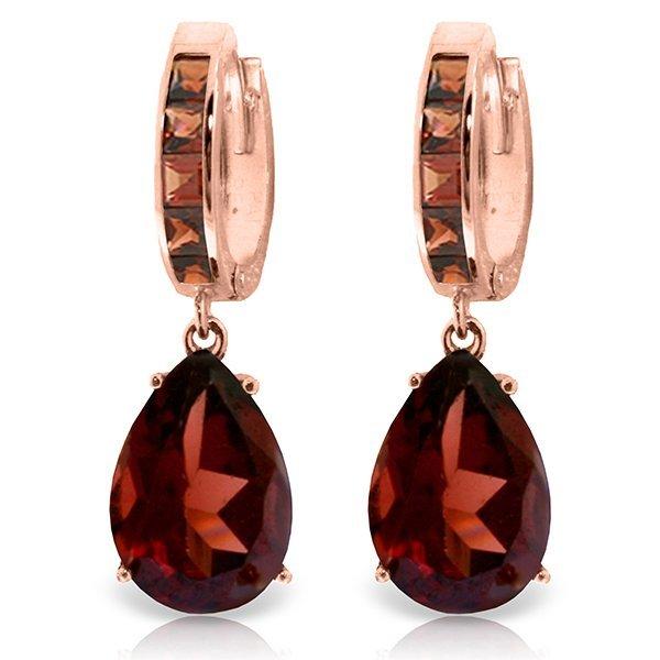 14K Rose Gold 12.0ct & 1.2ct Garnet Huggie Earring